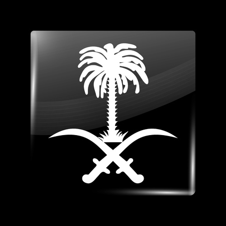 variant: Saudi Arabia Variant Flag. Glassy Icon Square Shape. This is File from the Collection Flags of Asia Illustration