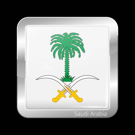 variant: Saudi Arabia Variant Flag. Metallic Icon Square Shape. This is File from the Collection Flags of Asia