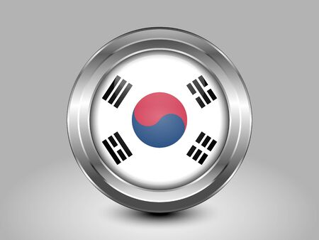south asian: Flag of South Korea. Metal Round Icons. This is File from the Collection Asian Flags