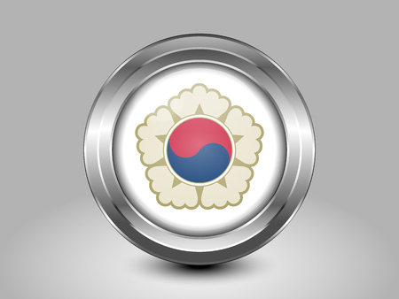 residential district: South Korea Variant Flag. Metal Round Icons. This is File from the Collection Asian Flags