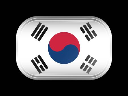 matted: Flag of South Korea. Rectangular Shape with Rounded Corners. This Flag is One of a Series of Glass Buttons