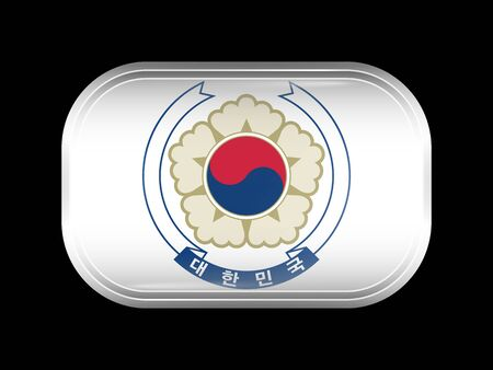 residential district: South Korea Variant Flag. Rectangular Shape with Rounded Corners. This Flag is One of a Series of Glass Buttons