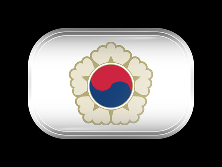 variant: South Korea Variant Flag. Rectangular Shape with Rounded Corners. This Flag is One of a Series of Glass Buttons