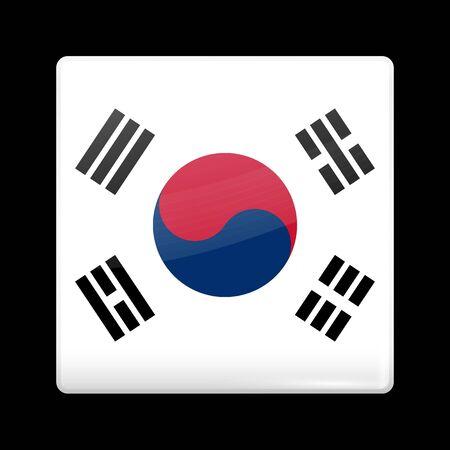 Vlag van Zuid-Korea. Het glazige Icon vierkante vorm. Dit is bestand uit de collectie van vlaggen van Azië