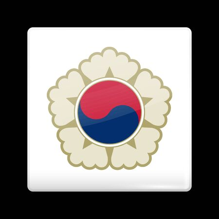variant: South Korea Variant Flag. Glassy Icon Square Shape. This is File from the Collection Flags of Asia