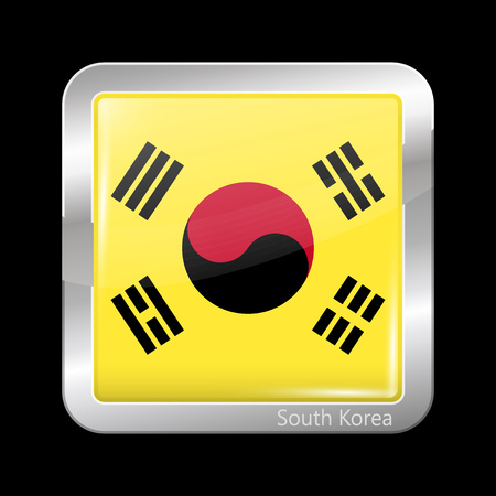 variant: South Korea Variant Flag. Metallic Icon Square Shape. This is File from the Collection Flags of Asia Illustration