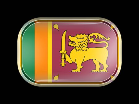 ceylon: Flag of Sri Lanka. Rectangular Shape with Rounded Corners. This Flag is One of a Series of Glass Buttons