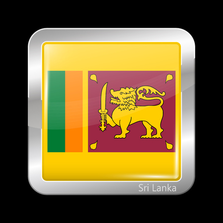 sri lankan flag: Flag of Sri Lanka. Metallic Icon Square Shape. This is File from the Collection Flags of Asia