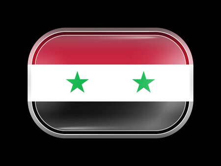 matted: Flag of Syria. Rectangular Shape with Rounded Corners. This Flag is One of a Series of Glass Buttons