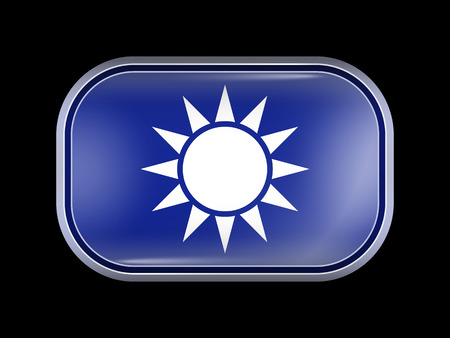 matted: Taiwan Variant Flag. Rectangular Shape with Rounded Corners. This Flag is One of a Series of Glass Buttons