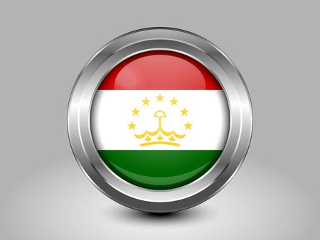 residential district: Tajikistan Variant Flag. Metal Round Icons. This is File from the Collection Asian Flags