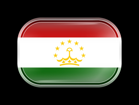 matted: Tajikistan Variant Flag. Rectangular Shape with Rounded Corners. This Flag is One of a Series of Glass Buttons
