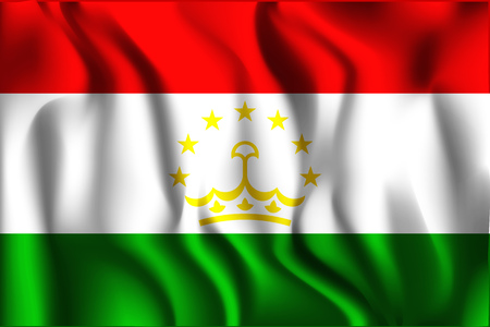 residential district: Tajikistan Variant Flag. Rectangular Shape Icon with Wavy Effect
