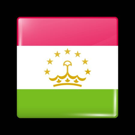 residential district: Flag of Tajikistan. Glassy Icon Square Shape. This is File from the Collection Flags of Asia