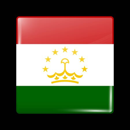 residential district: Tajikistan Variant Flag. Glassy Icon Square Shape. This is File from the Collection Flags of Asia Illustration