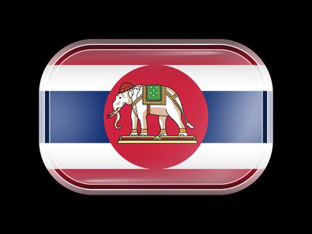 matted: Thailand Variant Flag. Rectangular Shape with Rounded Corners. This Flag is One of a Series of Glass Buttons