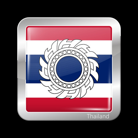 variant: Thailand Variant Flag. Metallic Icon Square Shape. This is File from the Collection Flags of Asia