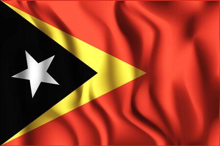east: Flag of East Timor. Rectangular Shape Icon with Wavy Effect Illustration