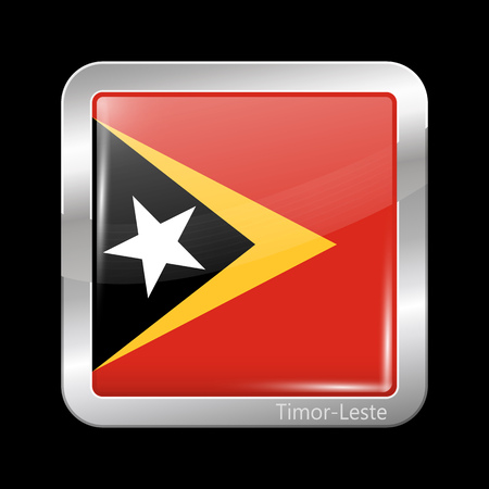residential district: Flag of East Timor. Metallic Icon Square Shape. This is File from the Collection Flags of Asia