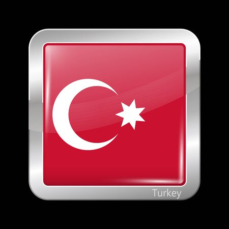 ottoman empire: Ottoman Empire Variant Flag. Metallic Icon Square Shape. This is File from the Collection Flags of Asia Illustration