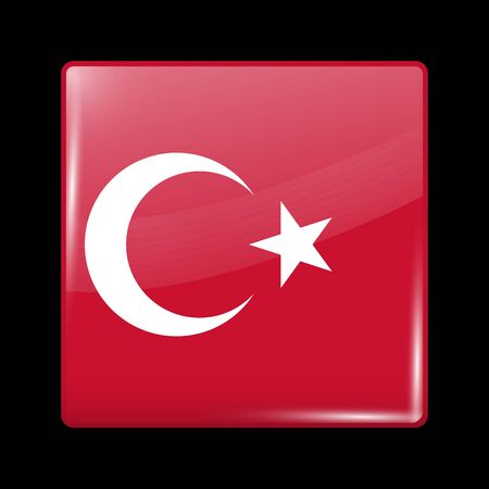 residential district: Flag of Turkey. Glassy Icon Square Shape. This is File from the Collection Flags of Asia