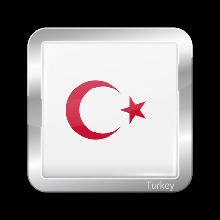 variant: Turkey Variant Flag. Metallic Icon Square Shape. This is File from the Collection Flags of Asia