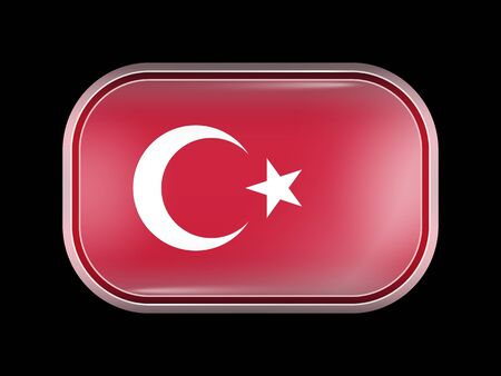 matted: Flag of Turkey. Rectangular Shape with Rounded Corners. This Flag is One of a Series of Glass Buttons