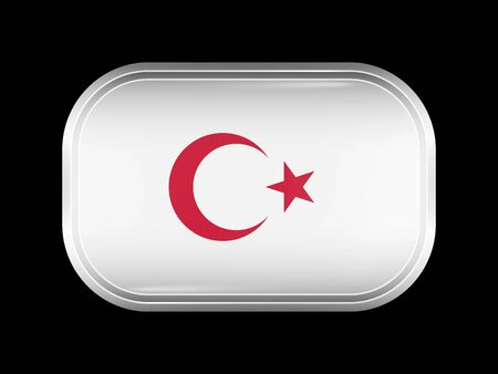 variant: Turkey Variant Flag. Rectangular Shape with Rounded Corners. This Flag is One of a Series of Glass Buttons Illustration