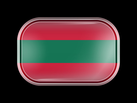 ottoman empire: Ottoman Empire Variant Flag. Rectangular Shape with Rounded Corners. This Flag is One of a Series of Glass Buttons Illustration