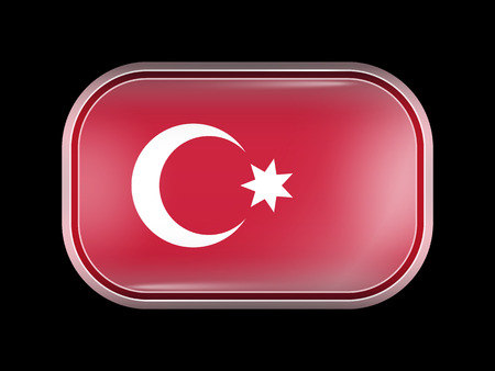 matted: Ottoman Empire Variant Flag. Rectangular Shape with Rounded Corners. This Flag is One of a Series of Glass Buttons Illustration