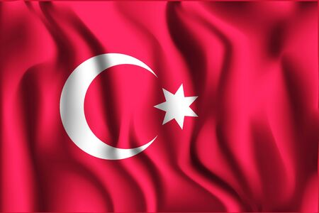 variant: Ottoman Empire Variant Flag. Rectangular Shape Icon with Wavy Effect