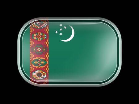 matted: Flag of Turkmenistan. Rectangular Shape with Rounded Corners. This Flag is One of a Series of Glass Buttons