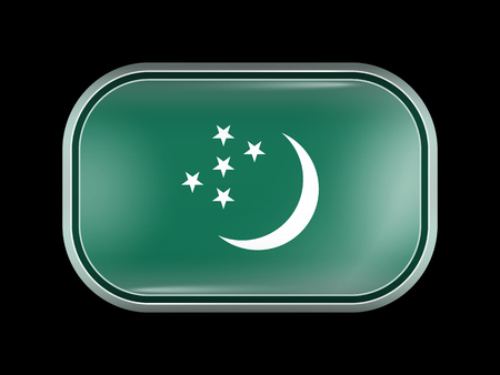 matted: Turkmenistan Variant Flag. Rectangular Shape with Rounded Corners. This Flag is One of a Series of Glass Buttons
