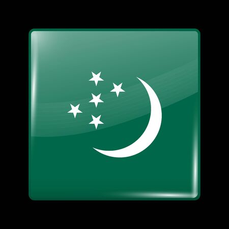 variant: Turkmenistan Variant Flag. Glassy Icon Square Shape. This is File from the Collection Flags of Asia