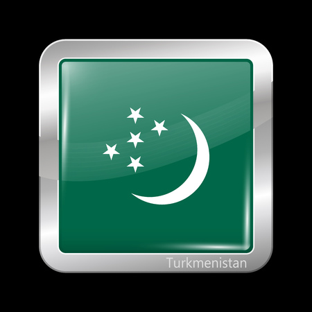 variant: Turkmenistan Variant Flag. Metallic Icon Square Shape. This is File from the Collection Flags of Asia