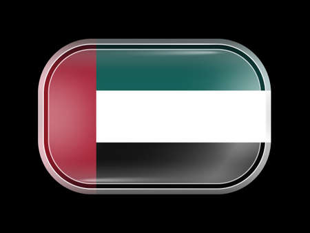 united arab emirates: Flag of United Arab Emirates. Rectangular Shape with Rounded Corners. This Flag is One of a Series of Glass Buttons Illustration