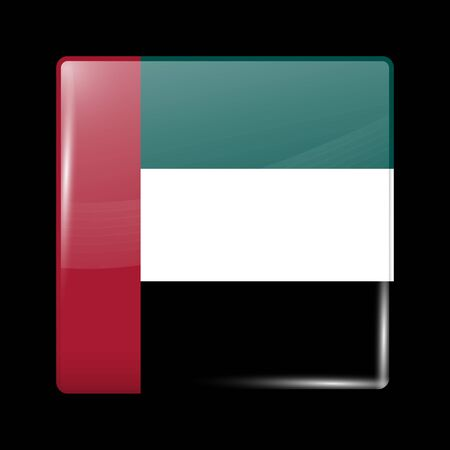 united arab emirates: Flag of United Arab Emirates. Glassy Icon Square Shape. This is File from the Collection Flags of Asia Illustration
