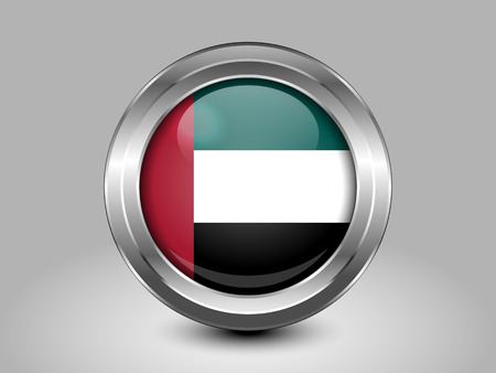 united arab emirates: Flag of United Arab Emirates. Metal Round Icons. This is File from the Collection Asian Flags