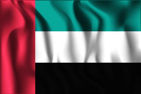 united arab emirates: Flag of United Arab Emirates. Rectangular Shape Icon with Wavy Effect
