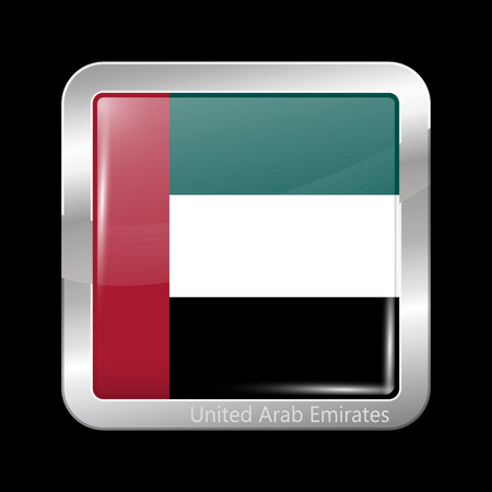 united arab emirates: Flag of United Arab Emirates. Metallic Icon Square Shape. This is File from the Collection Flags of Asia