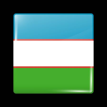 residential district: Uzbekistan Variant Flag. Glassy Icon Square Shape. This is File from the Collection Flags of Asia