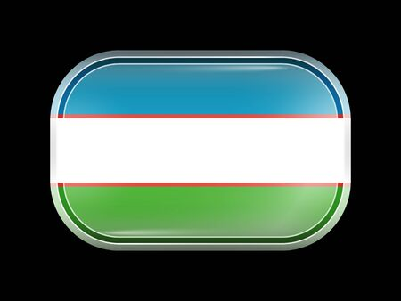 matted: Uzbekistan Variant Flag. Rectangular Shape with Rounded Corners. This Flag is One of a Series of Glass Buttons Illustration