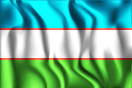 variant: Uzbekistan Variant Flag. Rectangular Shape Icon with Wavy Effect Illustration