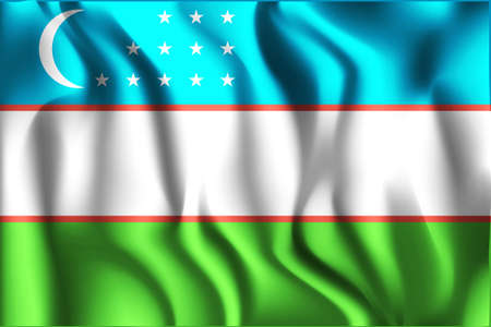 residential district: Flag of Uzbekistan. Rectangular Shape Icon with Wavy Effect