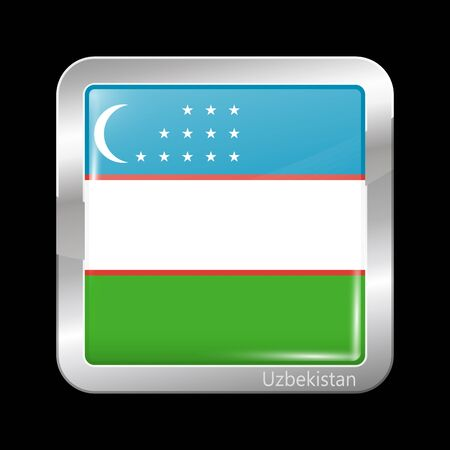 residential district: Flag of Uzbekistan. Metallic Icon Square Shape. This is File from the Collection Flags of Asia Illustration
