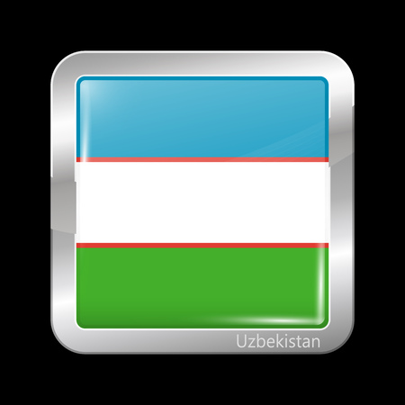 residential district: Uzbekistan Variant Flag. Metallic Icon Square Shape. This is File from the Collection Flags of Asia Illustration