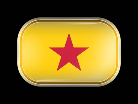 matted: Vietnam Variant Flag. Rectangular Shape with Rounded Corners. This Flag is One of a Series of Glass Buttons