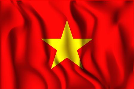 variant: Vietnam Variant Flag. Rectangular Shape Icon with Wavy Effect