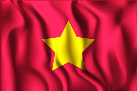 variant: Vietnam Variant Flag. Rectangular Shape Icon with Wavy Effect