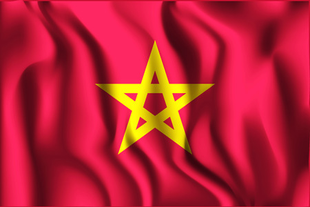 residential district: Vietnam Variant Flag. Rectangular Shape Icon with Wavy Effect